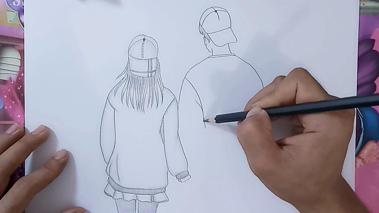 Pemula Wajib Tahu Cara Menggambar Orang Bergandengan Tangan Terlihat Dari Belakang Youtube