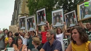 Demonstrators gather to protest Macron near G7 summit