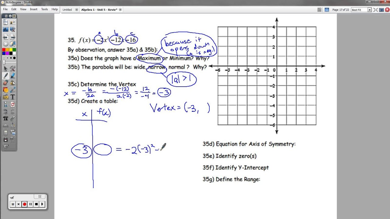 Algebra 1 - (OLD VERSION) Unit 5 - Review Packet (Quadratic Functions)