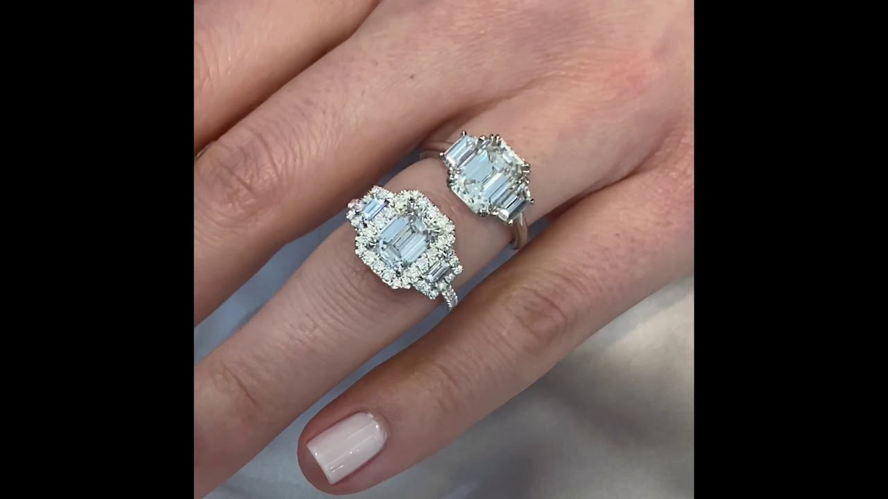 Emerald Cut Diamond: Three-Stone VS Halo Design