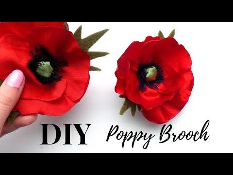 How to make a Poppy Brooch   DIY Flower Brooch   Tutorial by Fluffy Hedgehog