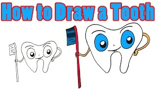 How to Draw a Tooth and Toothbrush