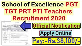 Government School of Excellence PGT TGT PRT PTI Recruitment 2020, Apply Online,संविदा शिक्षक भर्ती