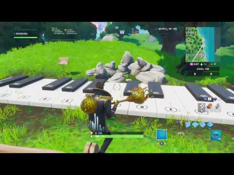 Play The Sheet Music At An Oversized Piano....Fortnite Boogie Down Challenges