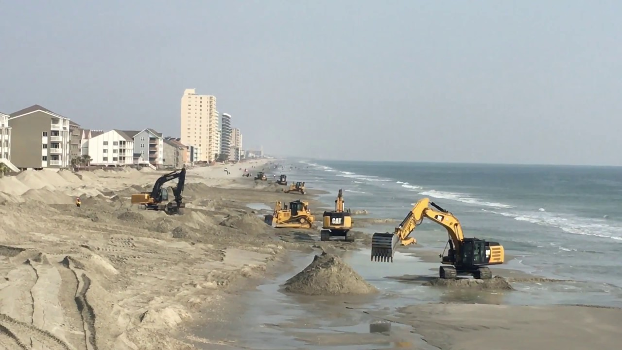 Sand Dune Rebuilding At Garden City Pier Near Myrtle Beach