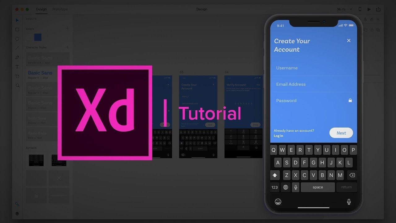 Create Account and Verification Process  – (Design & Prototype) Adobe Xd Tutorial