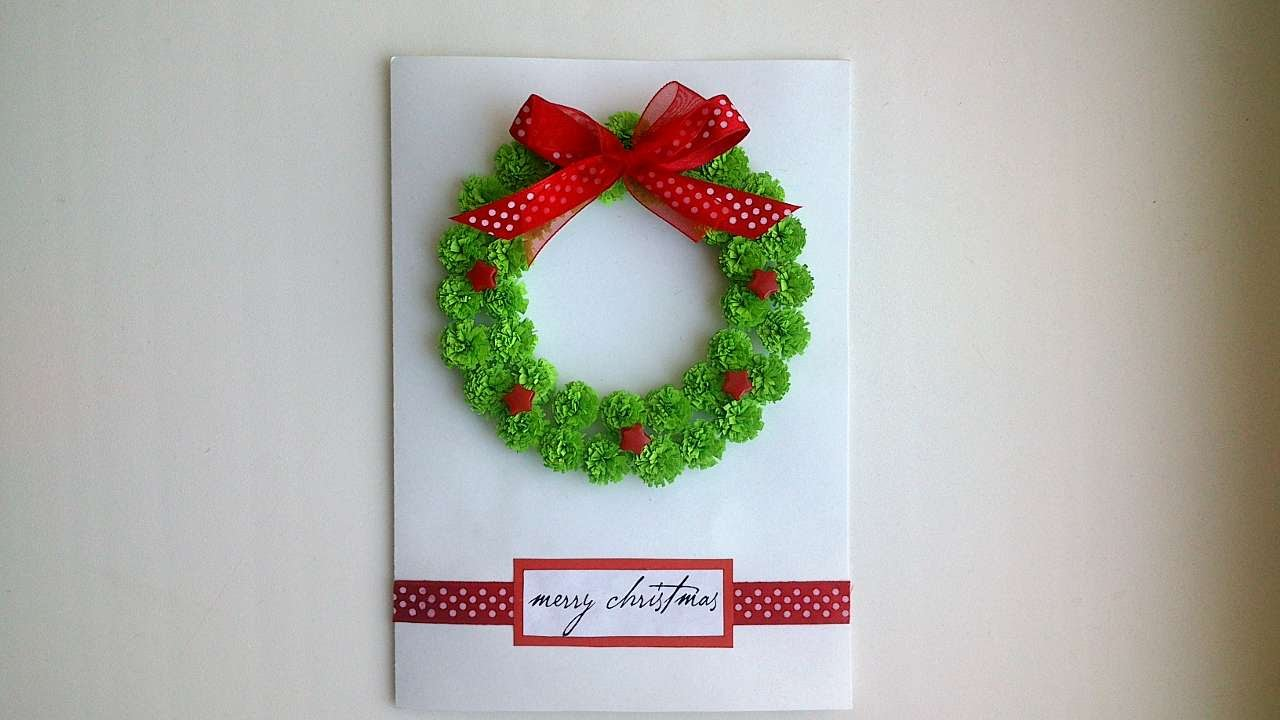 How To Make A Beautiful Christmas Card With A Wreath - DIY Crafts ...