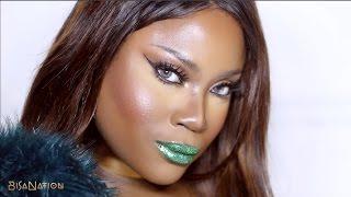 Edgy Festive Makeup Look! Green Glitter Lips