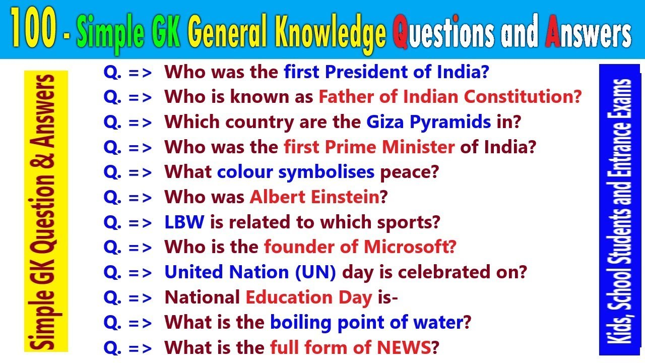 100 Simple General knowledge India GK Questions Answers ...