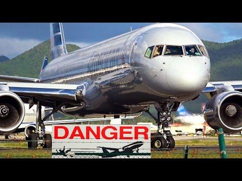 St. Maarten – American Airlines Boeing 757 - 8th amazing Jet-blast Challenge (8. plane of 8)