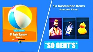 All 14 free gifts! 🎁 14 Days Summer Event - Fortnite English