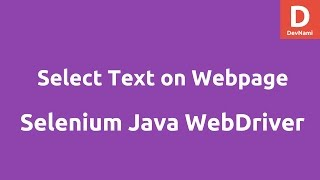 Select Text in webpage Using Selenium Java