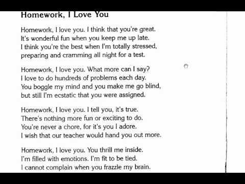 Homework i love you poem