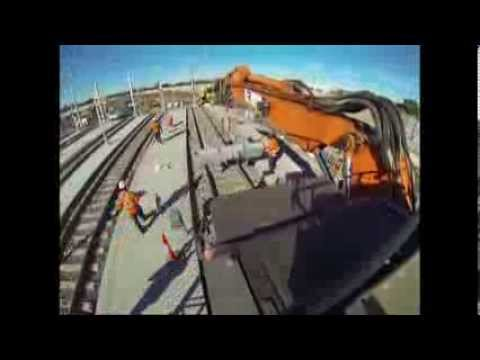 ANRIC RAIL Hi Rail Excavator Buffer stop install