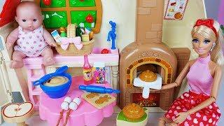 Baby doll car and Princess Barbie house toys cooking play 아기인형 바비와 백설공주 미미 하우스 장난감 뽀로로 놀이 - 토이몽