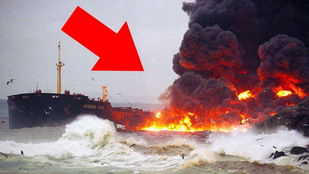 Oil Tanker Cracks in Half and Explodes on Camera