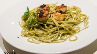 How To Make Spinach Pasta With Seared Scallops And Caviar