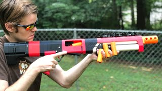 NERF MOD: Spring Thunder Nerf Shotgun REAL NERF SHOTGUN (Shell Tube + Ejection)