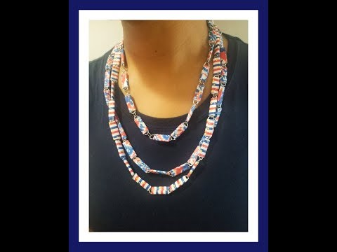 DIY 4TH of JULY paper clip necklace