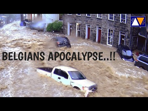 Flooding ravages centre of Spa, Liege, Luxembourg and Namur in Belgium.