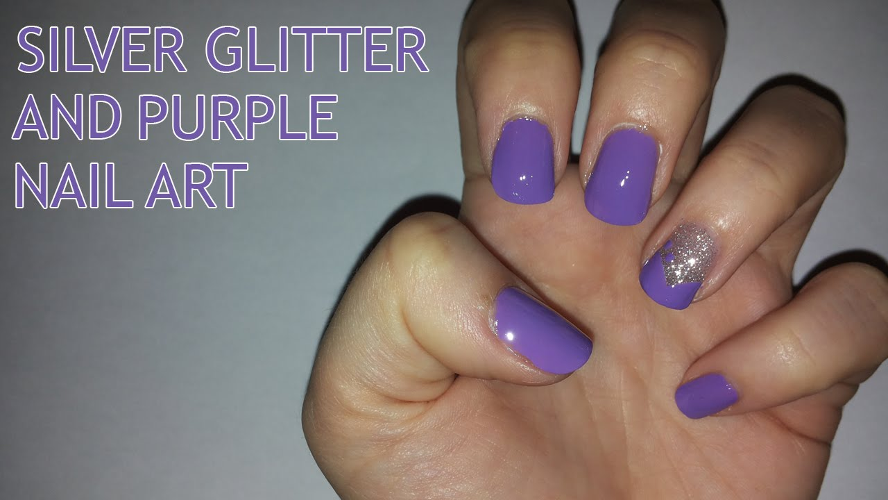 silver glitter and purple nail art (requested) - youtube