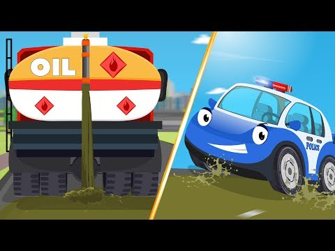 Bob the Police Car Stuck in the Mud w Red Super Car Chase Cartoons for Kids Songs