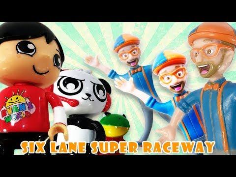 Blippi Toys Vs Ryan's World Toys:  Six Lane Super Elimination Race!!!