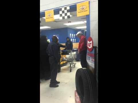 Man Flips in Walmart Auto Dept over Produce & Cold Cuts Checkout