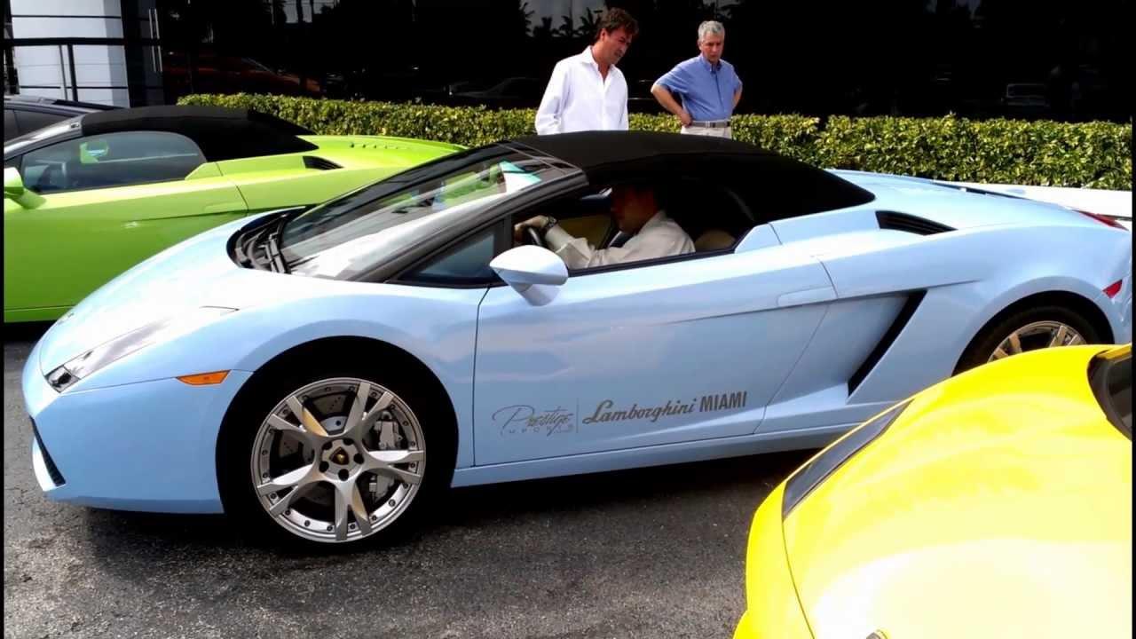 Sky Blue Lamborghini Gallardo Spyder Acceleration Engine