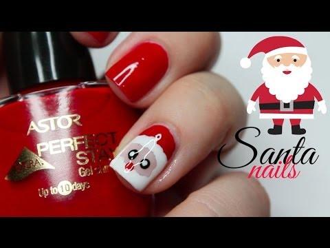 świąteczne Paznokcie Dzień 5 Santa Claus Youtube