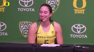Maite Cazorla and Sabrina Ionescu Arizona St. Post Game