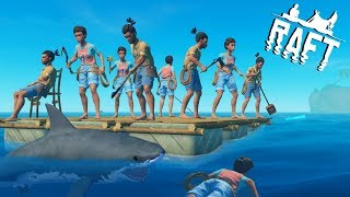 🌊RAFT INSANE 9 PEOPLE MULTIPLAYER MADNESS !! Raft Survival Multiplayer Gameplay Ep1