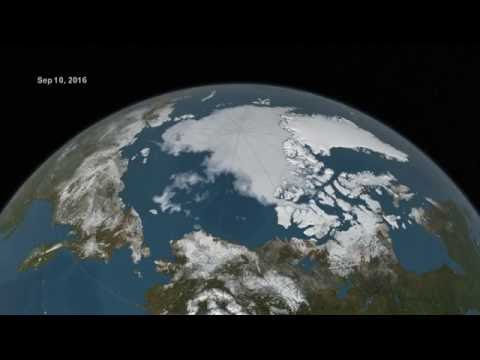 Arctic sea ice from March to September 2016