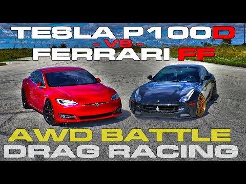 AWD Battle - Tesla Model S P100D Ludicrous vs Ferrari FF Drag Racing and Roll Racing