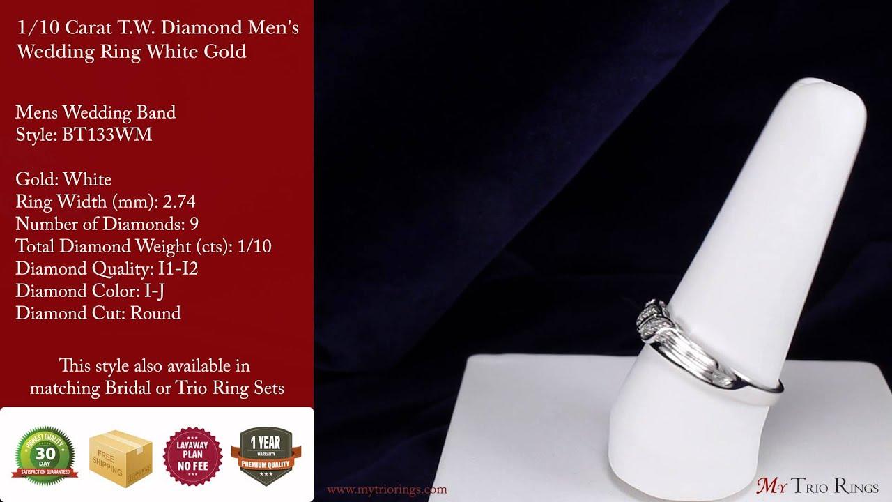 1 10 Carat T W Diamond Men S Wedding Ring White Gold Bt133wm