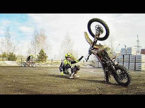 Тренировка эндуро - Slow Wheelie 01. Учусь ездить на заднем колесе