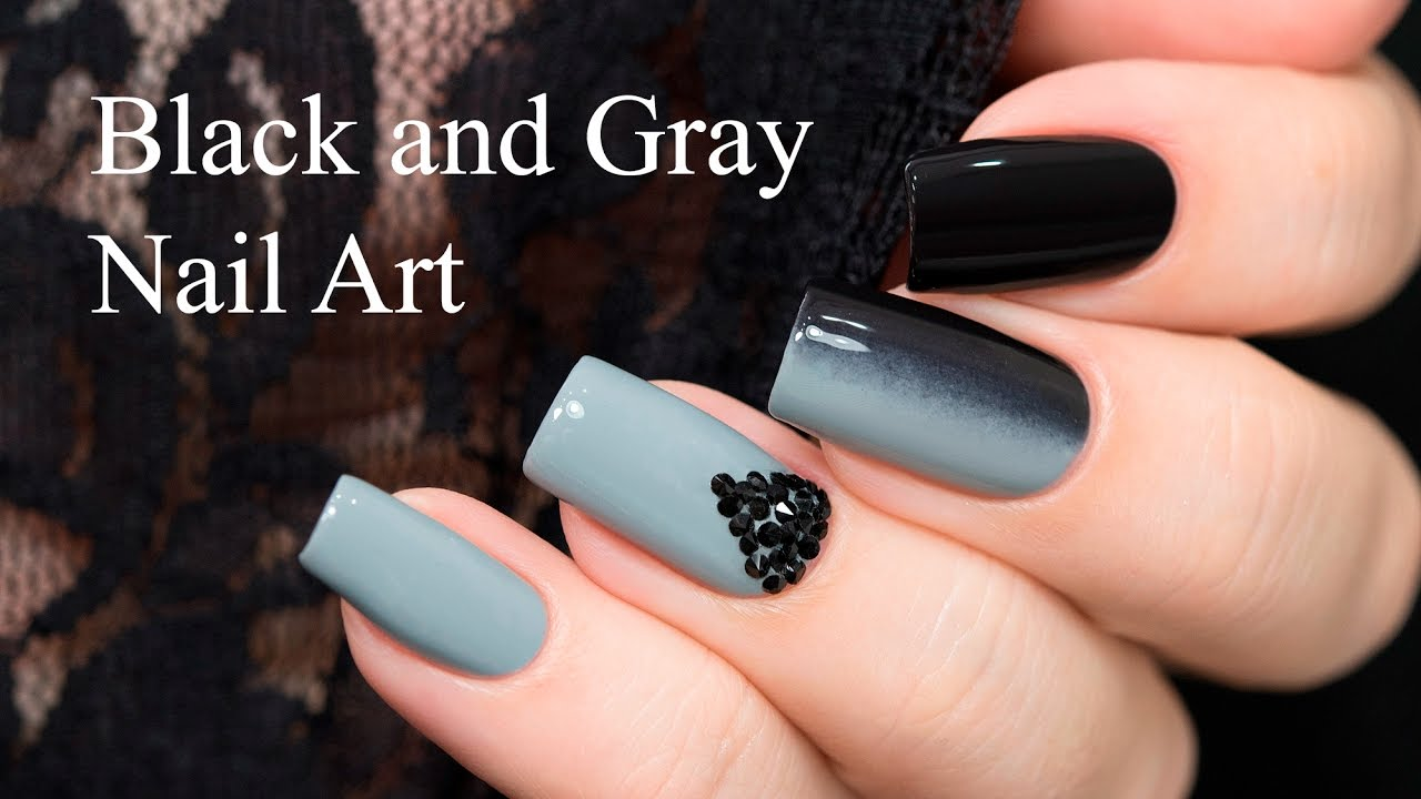 Black and Gray Nail Art - Black And Gray Nail Art - YouTube
