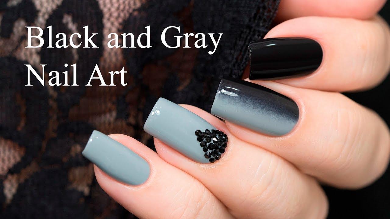 black and gray nail art