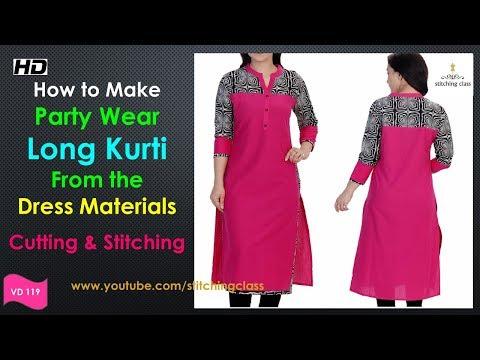 Party Wear Dress || Long Kurti Cutting and Stitching || Designer Long Kurti Cutting & Stitching ||