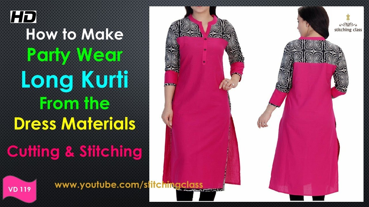 Party Wear Dress Long Kurti Cutting And Stitching Designer - How to make designer dress at home