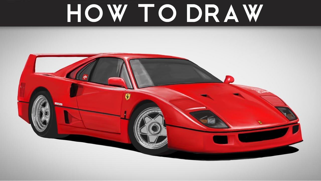 how to draw a ferrari f40 - stepstep | drawingpat - youtube