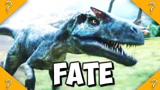 What happened to the ALLOSAURUS that got hit by volcanic rock
