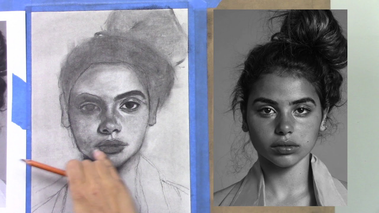 Charcoal drawing tutorial female portrait