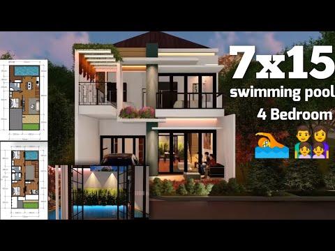 desain-rumah-minimalis-modern-2-lantai-7x15-dengan-kolam-renang-dan-4-kamar-small-house-with-pool