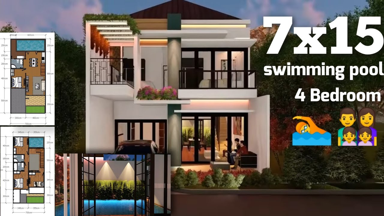 Desain Rumah Minimalis Modern 2 Lantai 7x15 Dengan Kolam Renang Dan