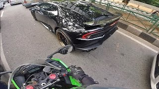 HIGH SPEED RUN - Lamborghini Huracan X Ninja ZX10R | Ninja Gopro POV