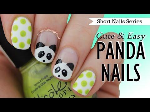Cute Easy Panda Nail Art