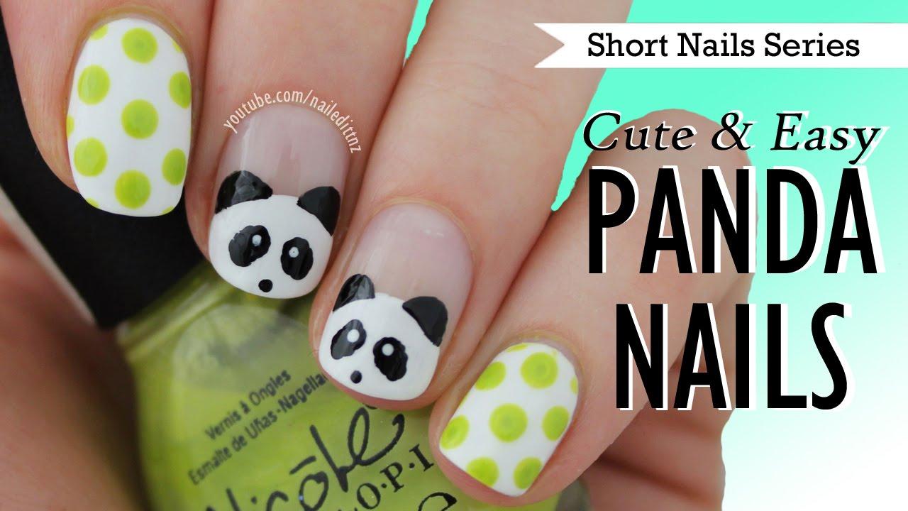 Cute Easy Panda Nail Art Nail Art For Short Nails 9 Youtube
