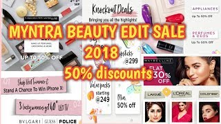 MYNTRA BEAUTY EDIT SALE 2018 /50% discounts /offers on high end makeup products /nayla zehra