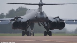 FULL THROTTLE US Air Force B-1 Aircraft Take off on Full Afterburner